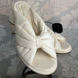STUART WEITZMAN Cream Puffy Leather Rose Heels